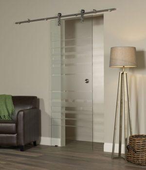 Glass Barn door - Silhouette Style