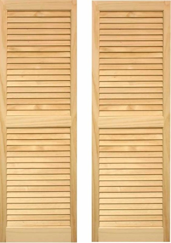 Pair of Unfinished Wood Home Exterior Shutters