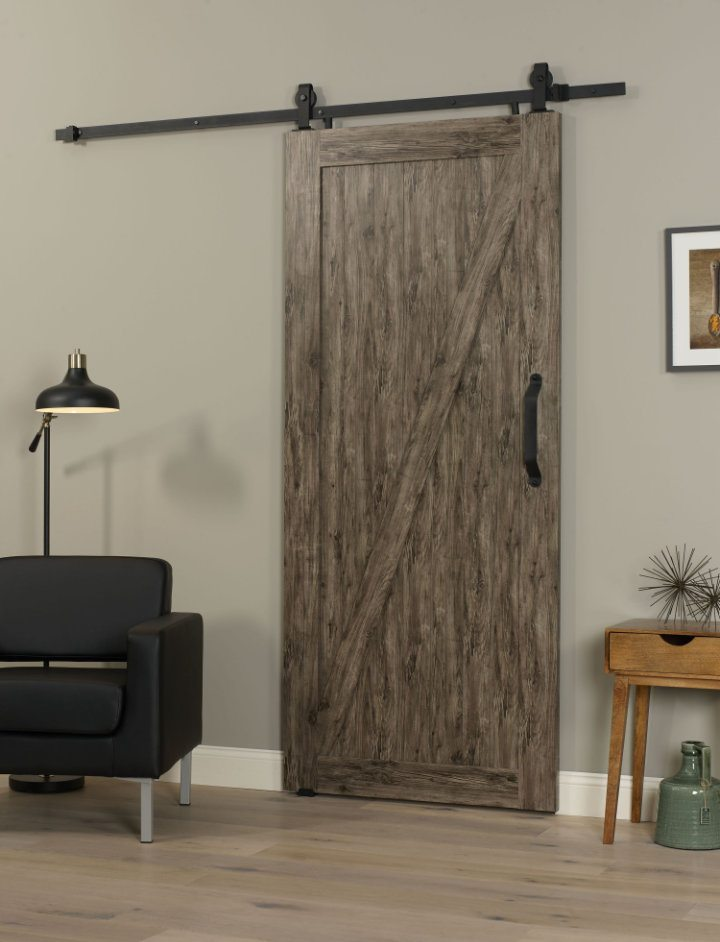 PVC Barn Door Z 36 Inch   Weathered Gray