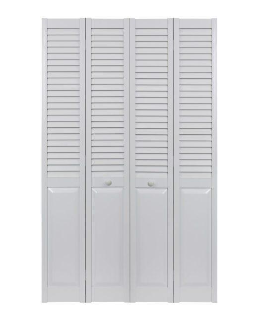 PVC bifold louver over panel double door