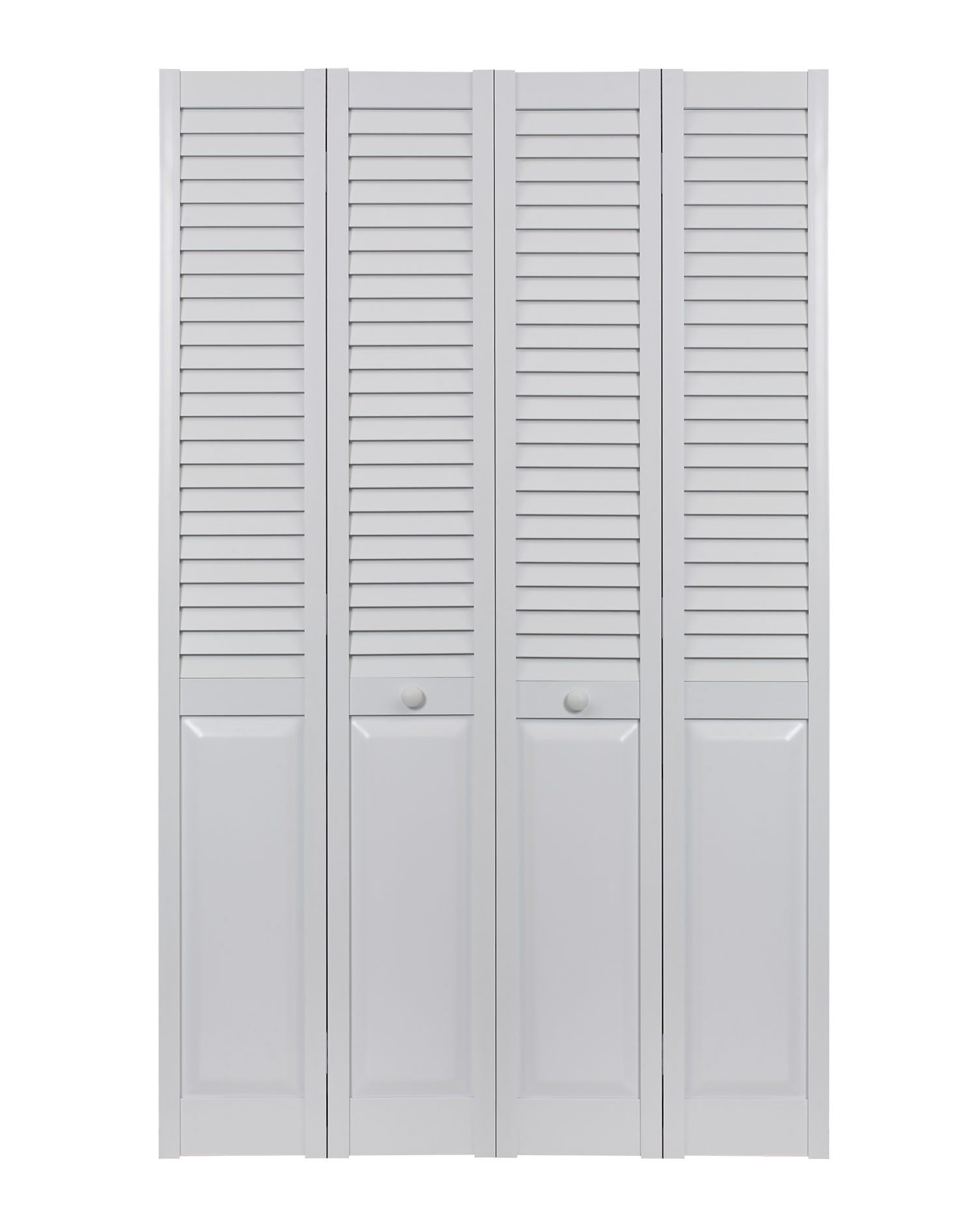 PVC bifold louver over panel double door